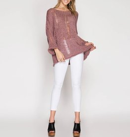 She & Sky Loose Knit Tunic Sweater w/Distressed Detail