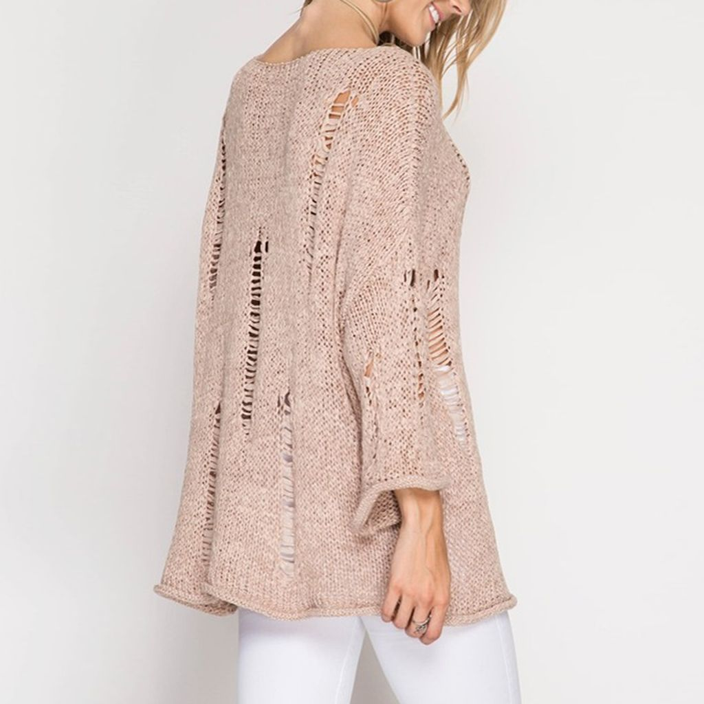 She & Sky Loose Knit Tunic Sweater w/Distressed Detail - Virtue ...
