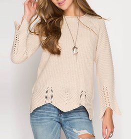She & Sky Knit Sweater with Scalloped Hemline