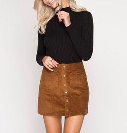 She & Sky Corduroy Mini Skirt with Front Buttons