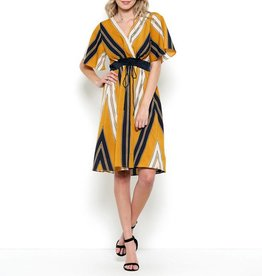 Esley Bold Striped Wing Sleeve Dress with Ruched Waist