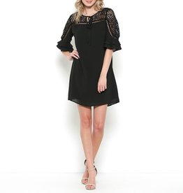 Esley Double Ruffle Sleeve Dress with Daisy Lace Cutouts