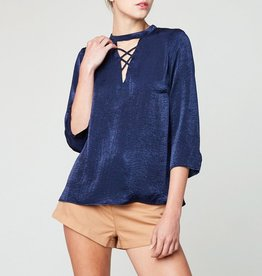Hayden Textured Satin Lace-Up Surplice Blouse