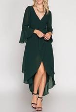 She & Sky Bell Sleeve Chiffon Hi-Lo Wrap Dress