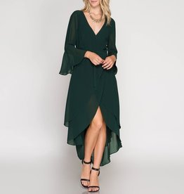 She & Sky Bell Sleeve Chiffon Hi-Lo Wrap Dress