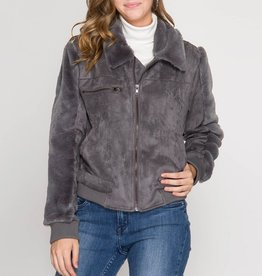 She & Sky Long Sleeve Faux Suede Jacket with Faux Fur Detail
