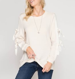 She & Sky Long Sleeve Top with Ribbon Ties
