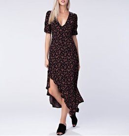 Honey Punch V-neck Midi Floral Dress with Asymmetrical Hem