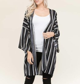 Tres Bien Variable Pinstripe Woven Lightweight Cardigan