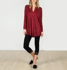 Monoreno Long Sleeve Faux Suede V-Neck Tunic Top