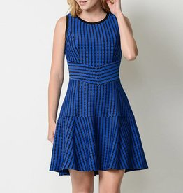 Esley Geo Patterned Sleeveless Skater Dress
