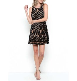 Esley Sleeveless Lace Overlay Cocktail Dress