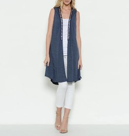 Esley Long Knit Vest with Lace Back Detail