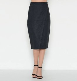 Esley Wool Blend Wrap Front Pencil Skirt