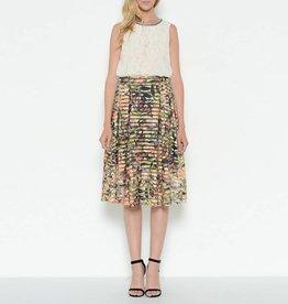Esley Horizontal Stripe Burnout Floral A-Line Skirt
