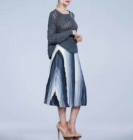 ark & co Striped Pleated Midi Skirt
