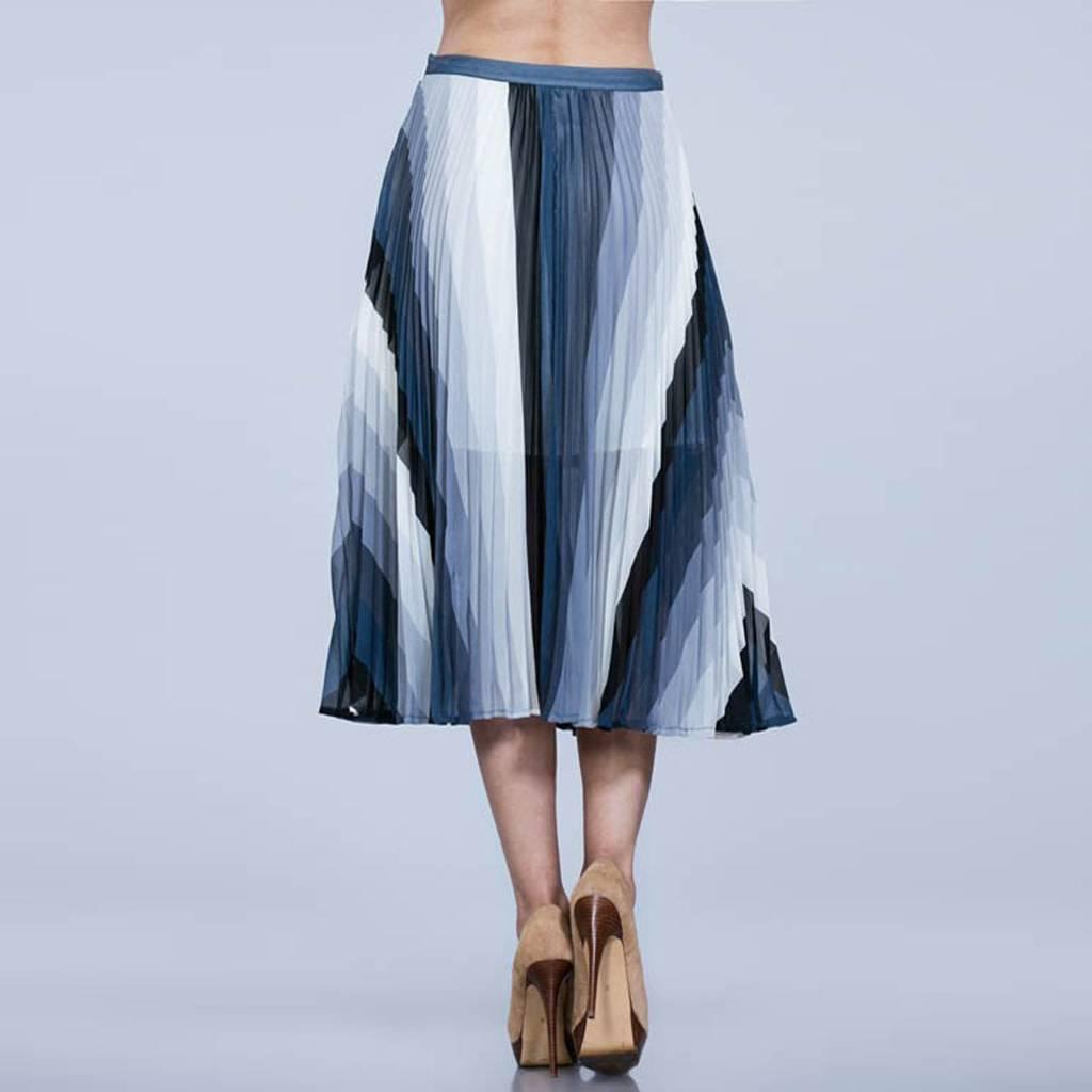 ark & co Striped Pleated Midi Skirt