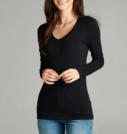 Active Basic V-Neck Basic Long Sleeve Tee