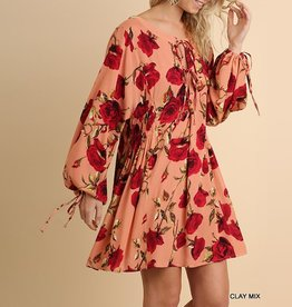 Umgee Floral Print Dress with Front and Sleeve Tie Details