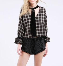 POL Plaid Blouse with Velvet Neck Tie and Ruffle Cuffs