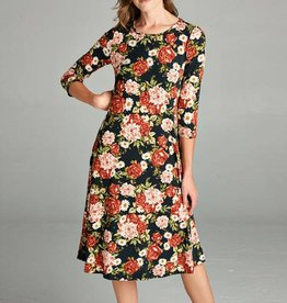 Tea N Rose Floral Midi Fit & Flare Dress