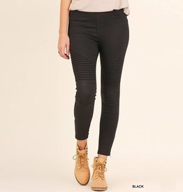 Umgee Washed Moto Jeggings with Pintuck Detail