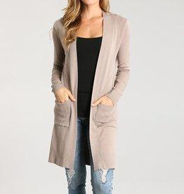 SungLight Long Soft Knit Open Front Cardigan