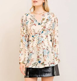 Entro Floral Print Peasant Top with Corset
