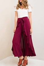 Entro Tie Front Culottes with Ruffled Hi-Lo Skirt Overlay