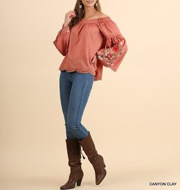 Umgee Embroidered Off The Shoulder Bell Sleeve Top