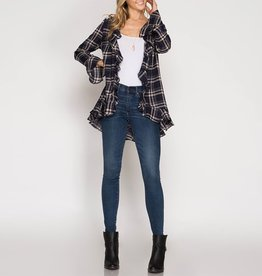 She & Sky Plaid Ruffle Cardigan with Bell Sleeves