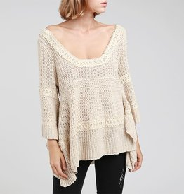 POL Square Neck Tiered Sweater with Crochet Detail