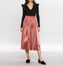 Flying Tomato Pleated Velvet Midi Skirt