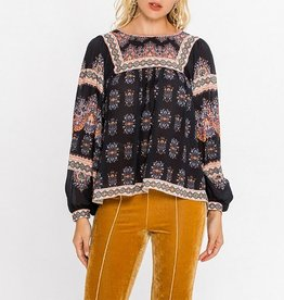 Flying Tomato Piece Print Boho Top with Balloon Sleeves