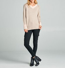 Tea N Rose Neutral Colorblock V-neck Sweater