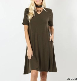 Zenana Jersey Knit Swing Dress with Criss Cross Choker