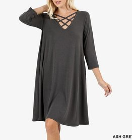 Zenana Jersey Knit Swing Dress with Criss Cross V-Neck