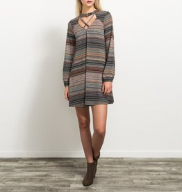 Hem & Thread Knit Variable Stripe Dress with Cross Choker Detail