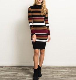 Hem & Thread Variable Stripe Mock Neck Bodycon Midi Dress