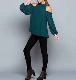 eesome Mock Neck Cold Shoulder Blouse with Balloon Sleeves