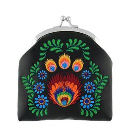 Lavishy Polish Flowers Embroidered Lock Frame Coin Purse