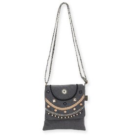 Catori Small Flap Over Crossbody Bag with Embroidery