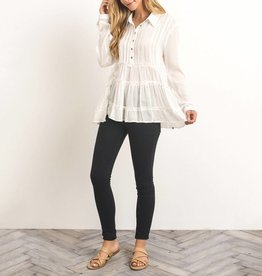 Gilli Tiered Sheer Button-Up Peasant Top