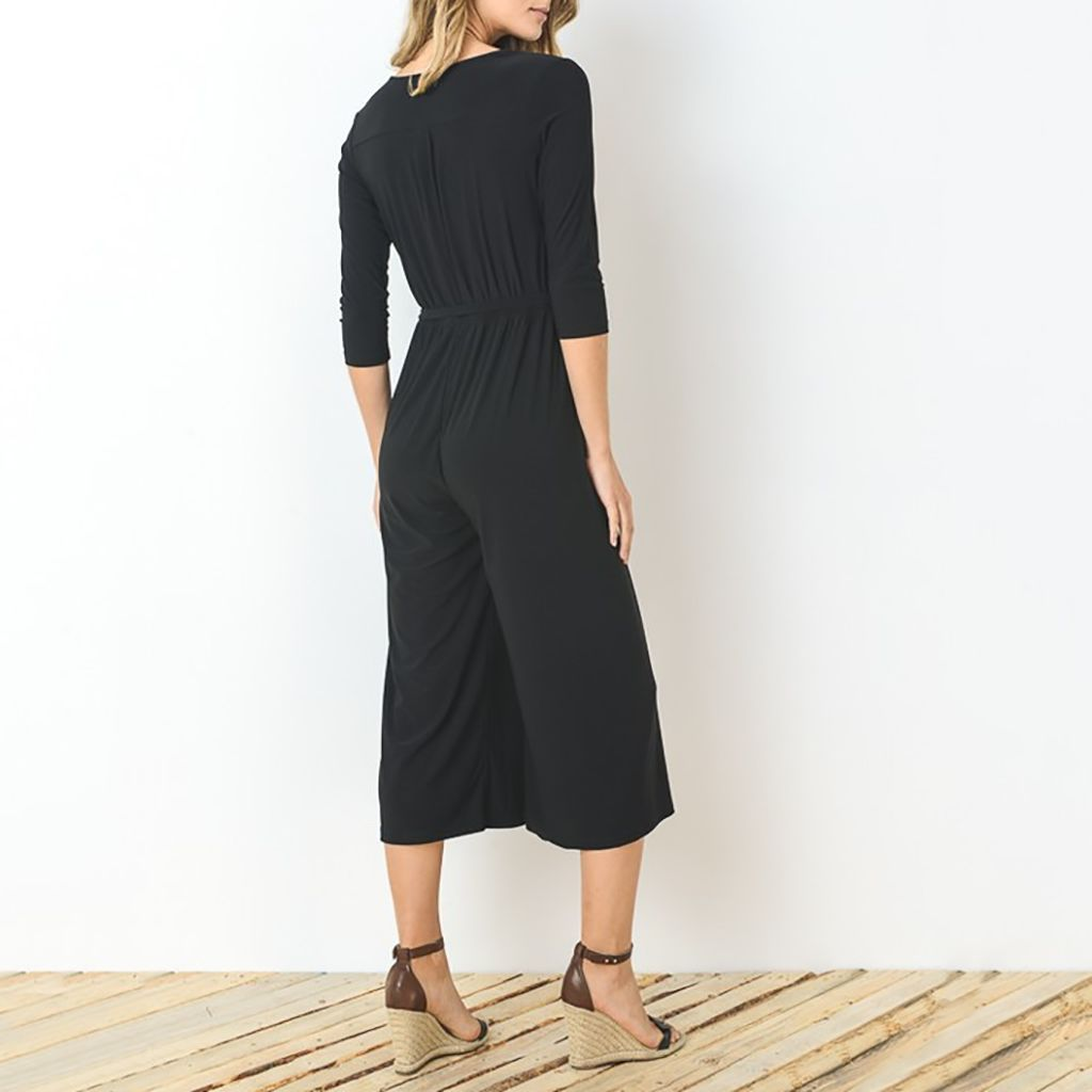 Gilli Faux Wrap Cropped Jumpsuit with Tie Belt