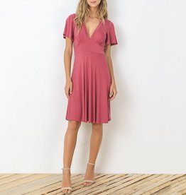 Gilli Modal Knit Deep V Dress with Wide Sleeves