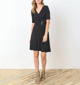 Gilli Half Sleeve Faux Wrap Dress with Buckle