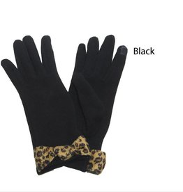 David & Young Fleece Lines Touch Gloves with Leopard Print Bow