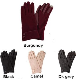 David & Young Button Cuff Touch Glove with Piping Detail