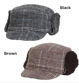David & Young Glen Plaid Cap with Berber Lining