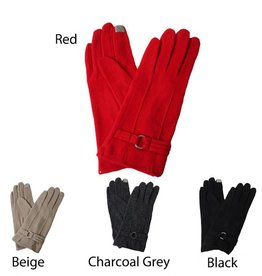 David & Young Wool Blend Vintage Style Touch Gloves with Ring
